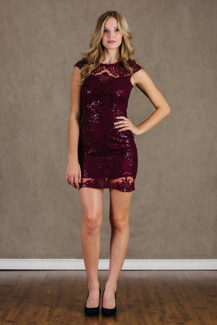Sequin Royale Wine Bodycon Mini Dress Front