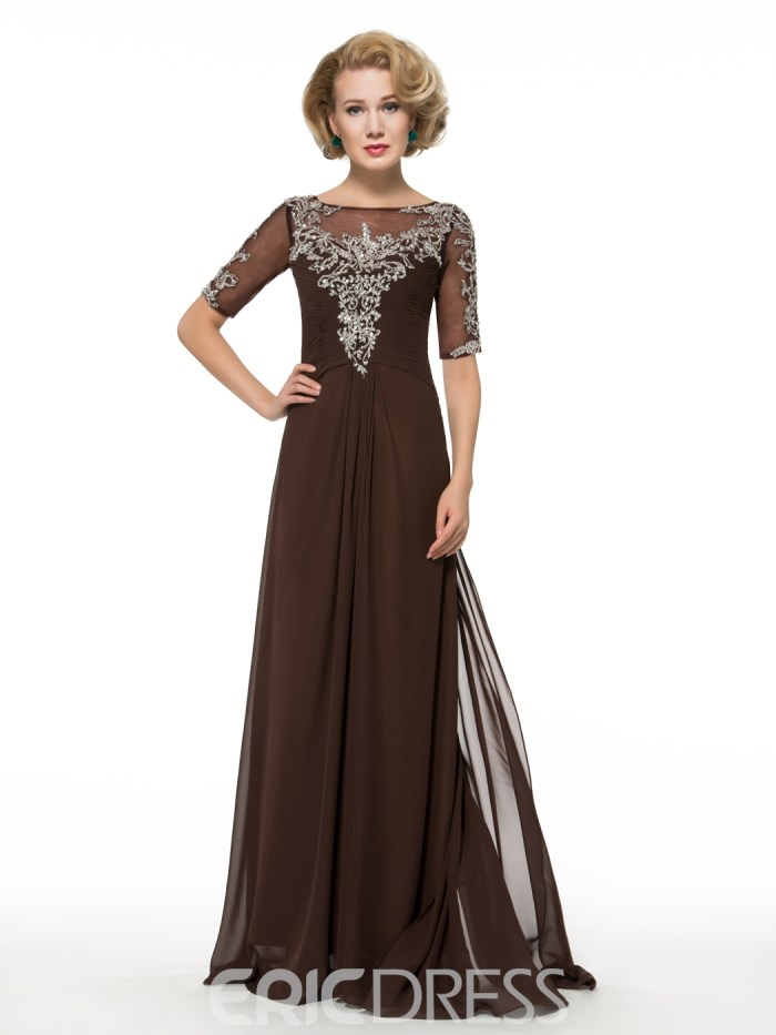 A Line Half Sleeves Long Mother of the Bride Dress