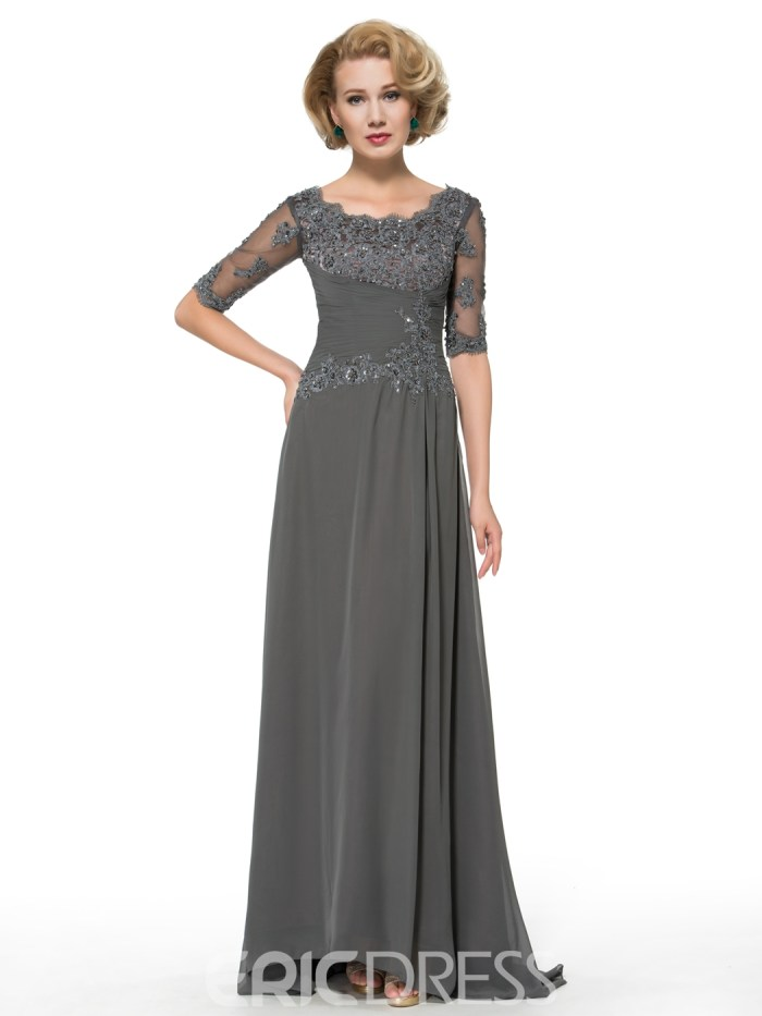 A Line Half Sleeves Long Scoop Appliques Mother of the Bride dress