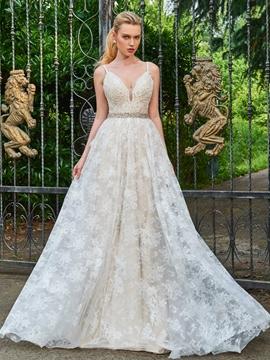 A Line Lace Spaghetti Straps Color Wedding Dress