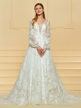 A Line Long Sleeves Appliques Wedding Dress
