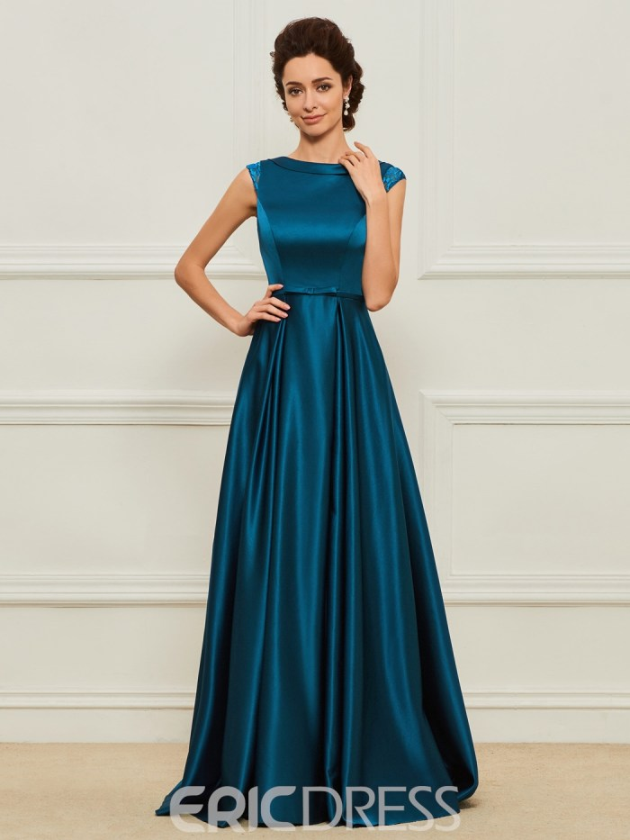 A Line Matte Satin Long Mother of the Bride Dress