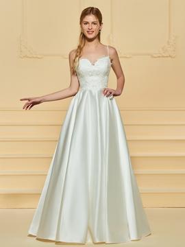A Line Matte Satin Wedding Dress