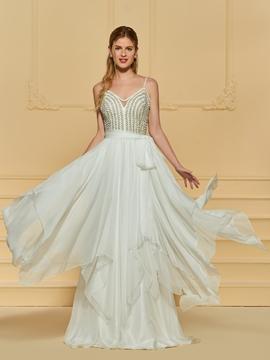 A Line Spaghetti Straps Beaded Wedding Dress
