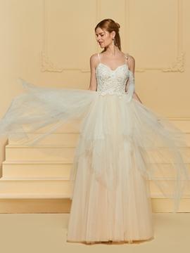 A Line Tulle Color Wedding Dress