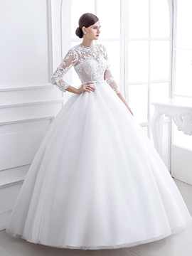 Amazing Jewel Appliques Ball Gown Wedding Dress