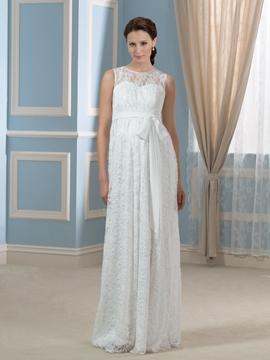 Amazing Jewel Sleeves Lace Maternity Wedding Dress