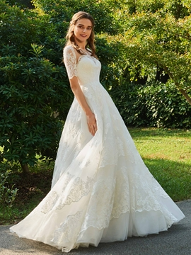 Appliques Ball Gown Wedding Dress with Sleeves
