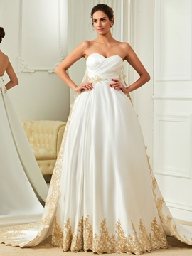 Appliques Sweetheart A Line Color Wedding Dress