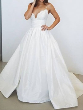 Appliques Taffeta Ball Gown Wedding Dress