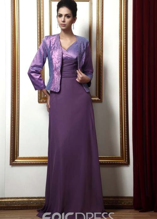 Attractive A-line V-neck Beading Long Mother of the Bride Dress With Jacket Shawl