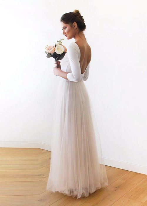 Backless Champagne formal tulle maxi Dress 1050
