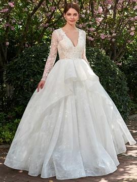 Ball Gown Long Sleeves V-Neck Wedding Dress