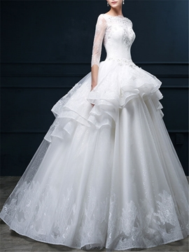 Bateau Lace Wedding Dress with Sleeves
