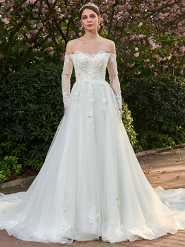 Beading 3D-FLoral Appliques Off Shoulder Wedding Dress with Long Sleeves