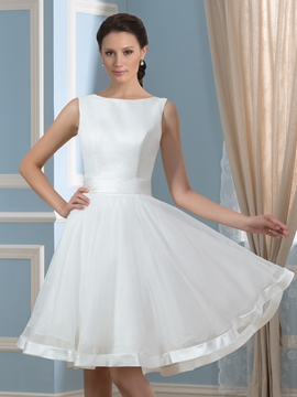 Beautiful Bateau Knee Length Reception Wedding Dress