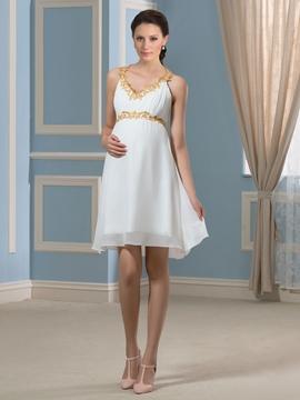 Beautiful Beading Short Maternity Dress