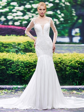 Beautiful Illusion Neckline Backless Long Sleeves Mermaid Wedding Dress