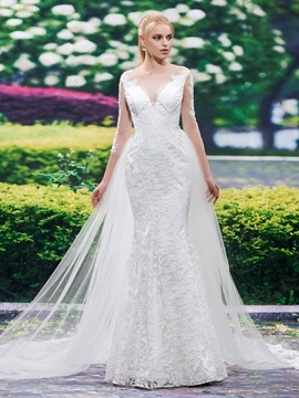 Beautiful Mermaid Lace Wedding Dress With Sleeves