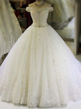 Beautiful Off The Shoulder Beaded Ball Gown Wedding Dress