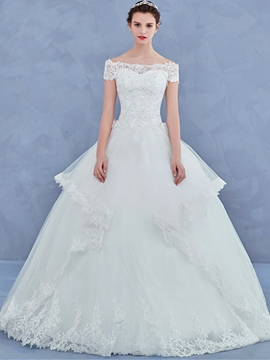 Beautiful Off The Shoulder Lace Ball Gown Wedding Dress