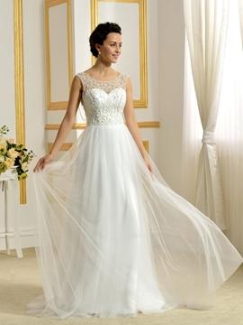 Beautiful Scoop Backless A Line Wedding Dress