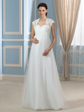 Beautiful Sweetheart A Line Maternity Wedding Dress with Jacket