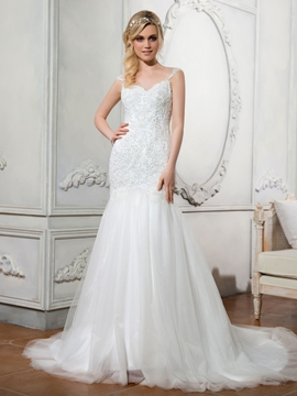 Beautiful Sweetheart Appliques Beaded Illusion Backless Mermaid Wedding Dress