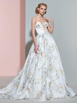 Beautiful Sweetheart Printed Wedding Dress