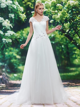 Beautiful V Neck Cap Sleeves Appliques A Line Wedding Dress
