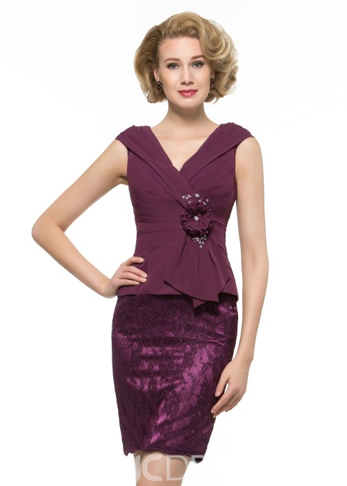Beautiful V Neck Sheath Short Mother Of The Bride Dress