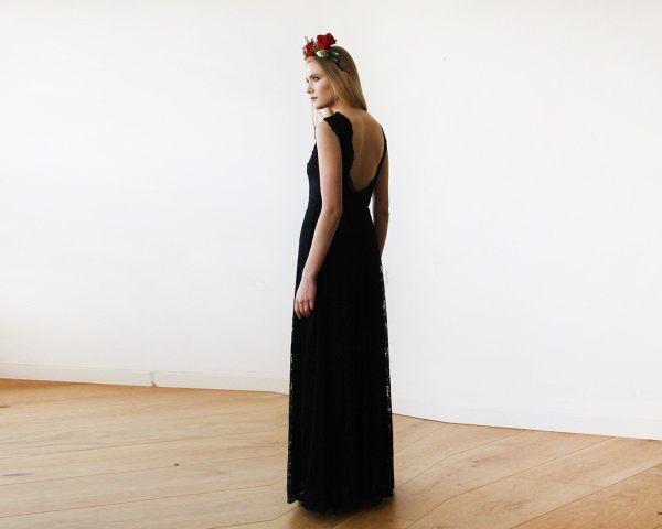 Black Lace Sleeveless Open Back Maxi Dress 1141