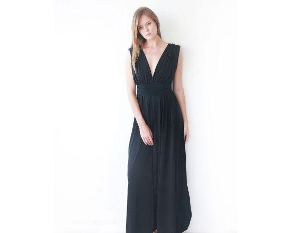 Black sleeveless maxi dress 1003