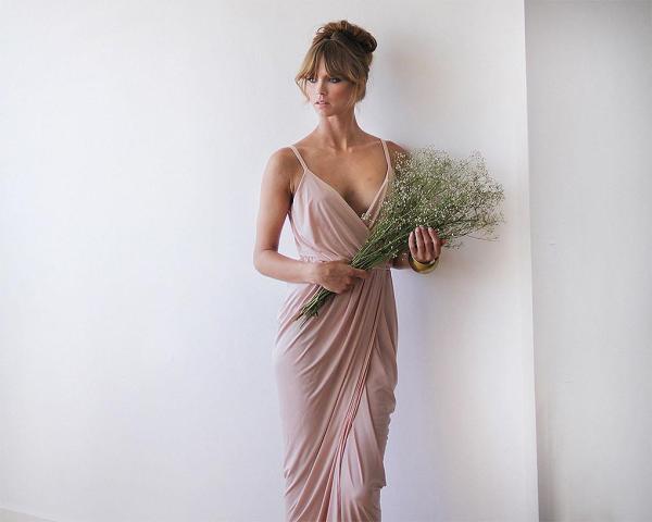 Blush pink bridesmaids wrap maxi dress 1033