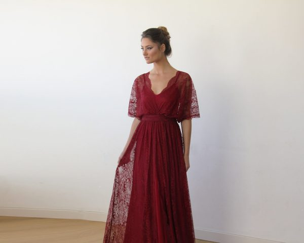 Bordeaux sheer lace maxi dress 1044