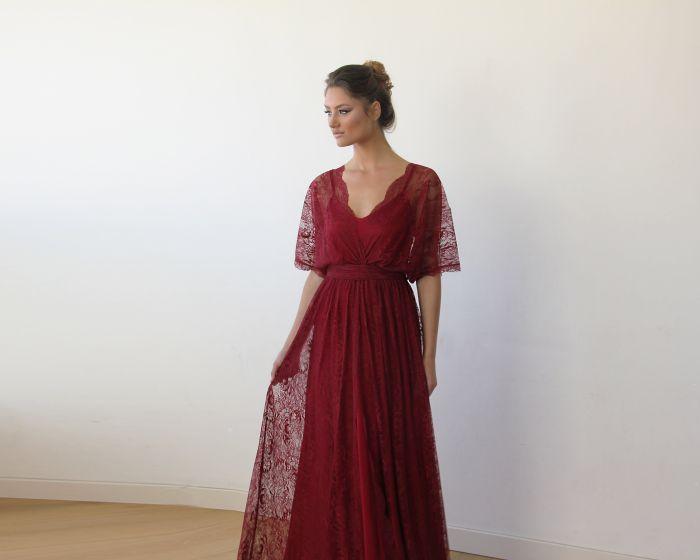 Bordeaux sheer lace maxi dress 1044
