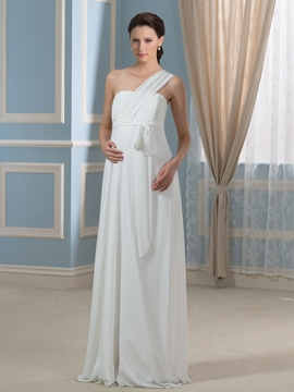 Casual One Shoulder Empire A Line Maternity Wedding Dress