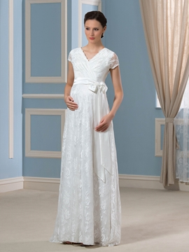 Casual Short Sleeves Lace Maternity Wedding Dress