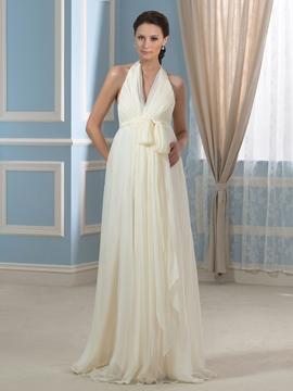Casual V Neck Backless Maternity Wedding Dress