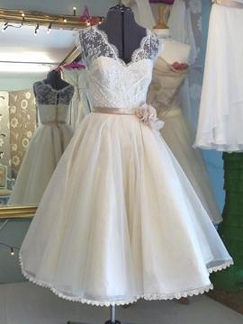 Casual V Neck Lace A Line Tea Length Wedding Dress