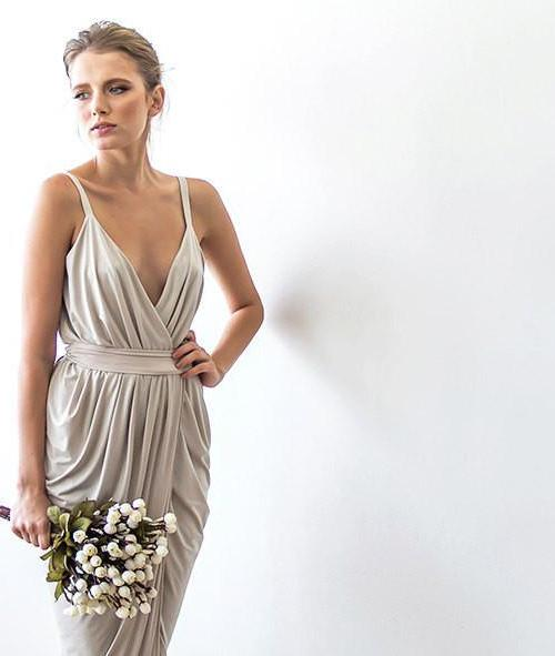 Champagne maxi tulip wrap dress 1033