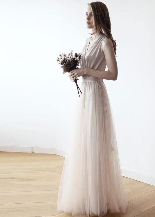 Champagne maxi tulle sleeveless dress 1076