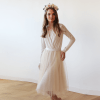 Champagne midi tulle dress with long sleeves 1068