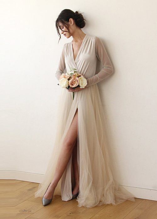 Champagne wrap tulle gown with long chiffon sleeves and slit 1174
