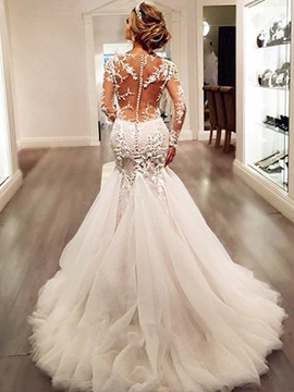 Charming Appliques Backless Mermaid Wedding Dress