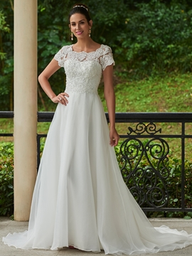 Charming Appliques Beaded Scoop A Line Wedding Dress
