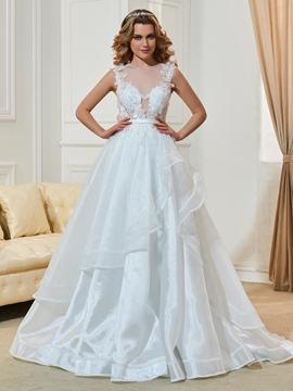 Charming Appliques Scoop Backless A Line Wedding Dress