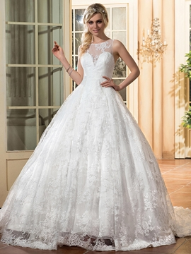Charming Backless Ball Gown Wedding Dress