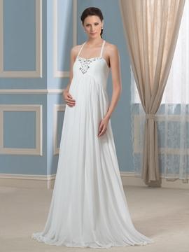 Charming Beading Halter Maternity Wedding Dress