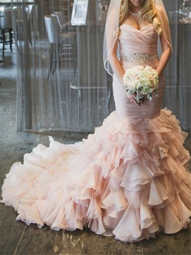 Charming Beading Sweetheart Mermaid Wedding Dress